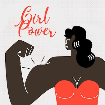 Strong dark skin woman flat web banner.