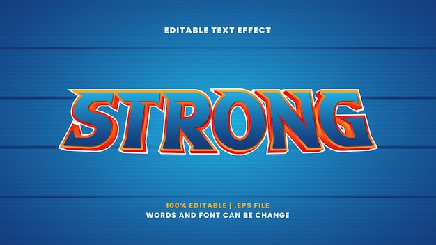 Strong editable text effect in modern 3d style
