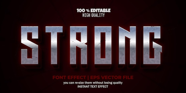 Strong editable text effect text style template