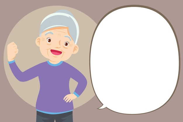 Strong elderly woman surrounded by immunity field protecting her and speech bubble
