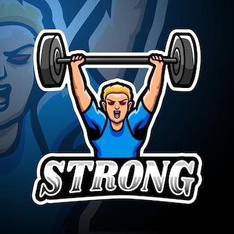 強力なeスポーツのロゴのマスコットデザイン