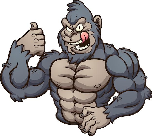 Концепция иллюстрации сильной злой гориллы