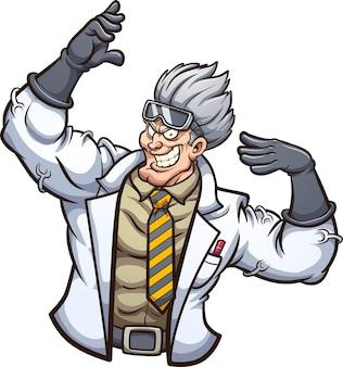 Сильный злой ученый позирует с поднятыми руками