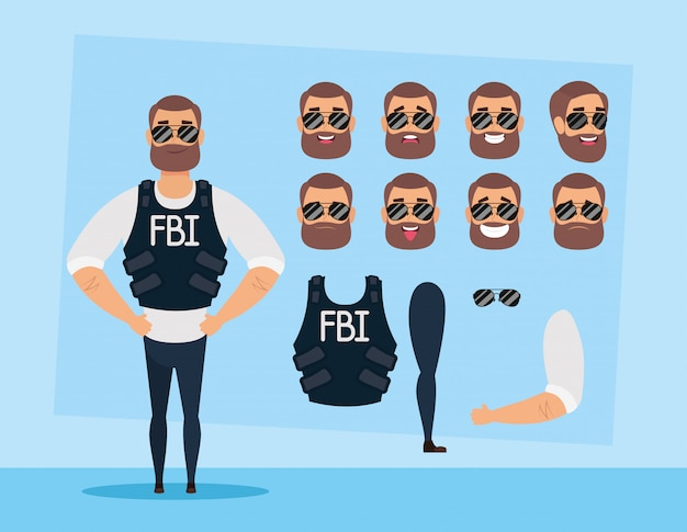 Strong fbi man with set faces character vector illustration design