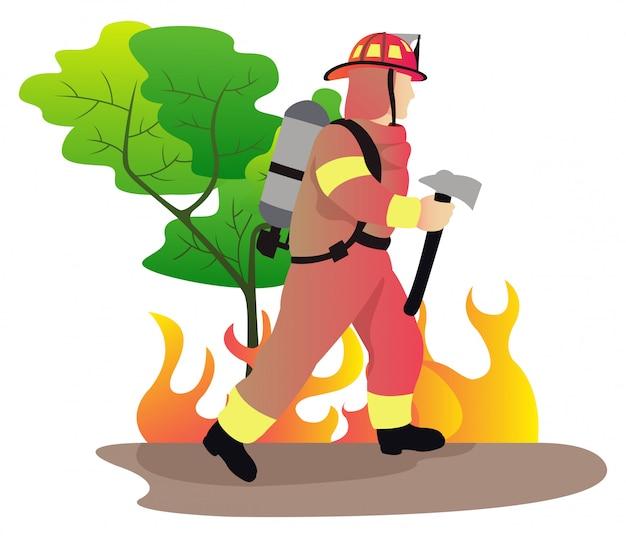 숲에서 불꽃과 함께 강한 소방관 싸움 소화전 호스에서 큰 스프레이 물을 사용