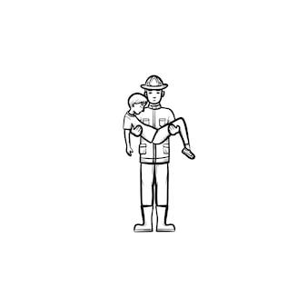 人の手描きのアウトライン落書きアイコンを救助する強力な消防士。消防士は、白い背景で隔離の印刷物、ウェブ、モバイル、インフォグラフィックの男のベクトルスケッチイラストを救出します。