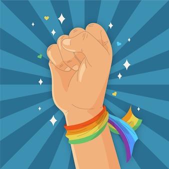 Сильный кулак и радужный браслет-флаг