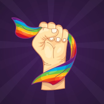 Strong fist and lgbt flag