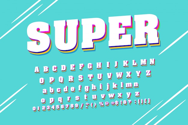 Сильный шрифт. белый современный алфавит