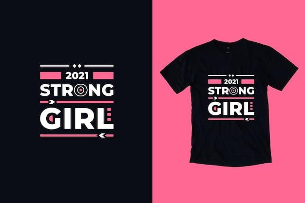 強い女の子の現代のタイポグラフィ幾何学的な心に強く訴える引用符tシャツのデザイン