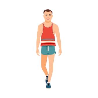 Сильный парень в футболке и шортах