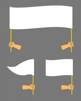 Strong hand holding blank flag