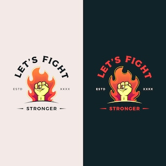 Strong hand logo design illustration