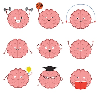Strong, healthy, sports and smart brain  cartoon characters set