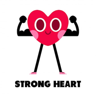 Strong heart cartoon character ilustration