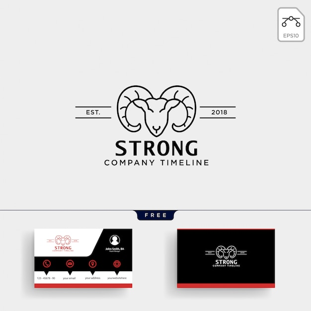 Strong horn goat logo template and business card