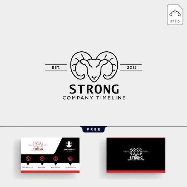 Шаблон логотипа strong horn goat и визитная карточка