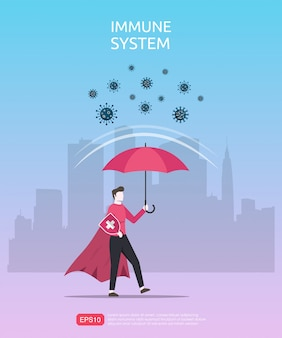 Strong immune system concept. powerful man character under red umbrella reflect virus or infectious bacteria.