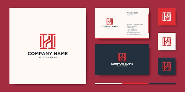 Strong letter h logo design and business card