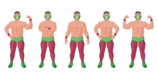 Сильный мексиканский борец луча либре в наборе другой позы. веселый лучадор в маске, демонстрирующий силу в мышцах, мощный чемпион экстремальной борьбы векторная иллюстрация изолировать на белом фоне
