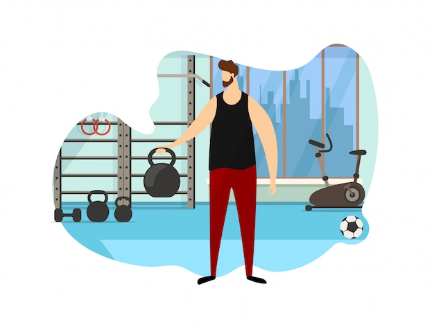 Strong male character hold dumbbell in hand icon.