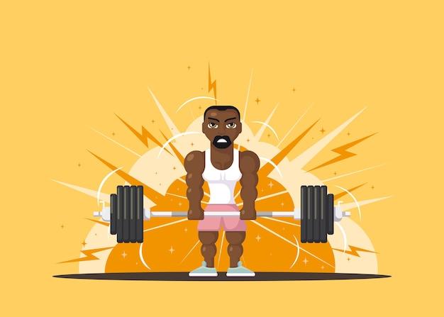 체육관에서 데 드리프트 운동을하는 강한 남자 선수. 체육관 운동 개념. 플랫 스타일의 캐릭터 디자인.