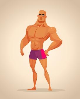 Strong man bodybuilder character. cartoon illustration