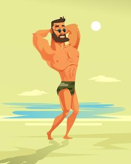 Сильный человек культурист характер. иллюстрации шаржа