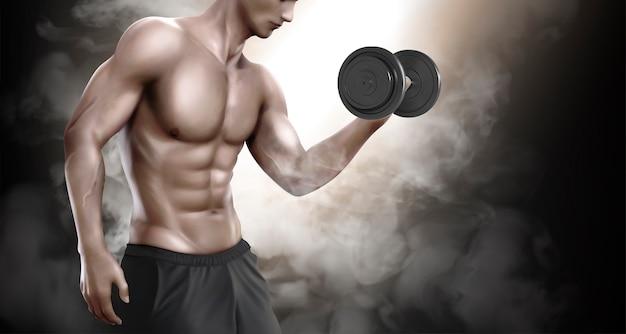 Сильный человек делает упражнения по поднятию тяжестей и демонстрирует свое тело, 3d иллюстрация