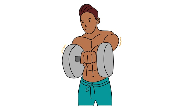 Strong man holding a dumbbell in hand drawn