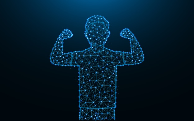 Strong man made from points and lines on dark blue background, man shows biceps wireframe mesh polygonal