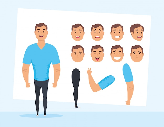 Strong man with set faces character vector illustration design