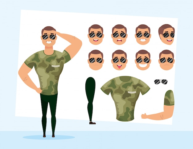 Strong military man with set faces character vector illustration design
