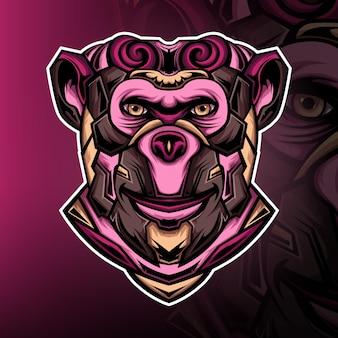 강한 원숭이 기사 게임 마스코트 로고 벡터