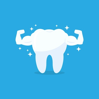 Strong muscle healthy tooth vector icon. white tooth with biceps on blue background. vector illustration eps 10