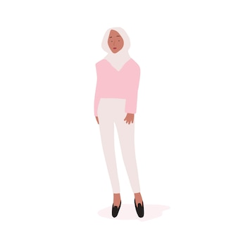 Strong muslim woman full body vector