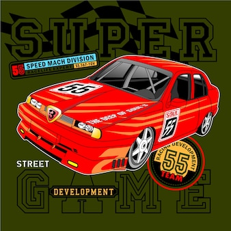 Strong racing time,vector car illustration