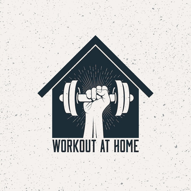 Strong raised arm with dumbbell in house silhouette.