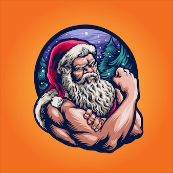 Strong santa claus in winter