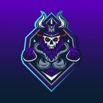 強力な頭蓋骨バイキングゲームのeスポーツマスコットロゴ