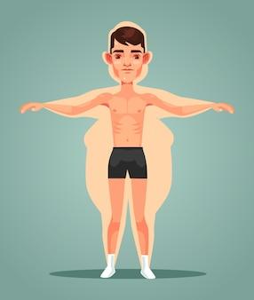 Strong slim man character locked up in fat man body flat cartoon illustration