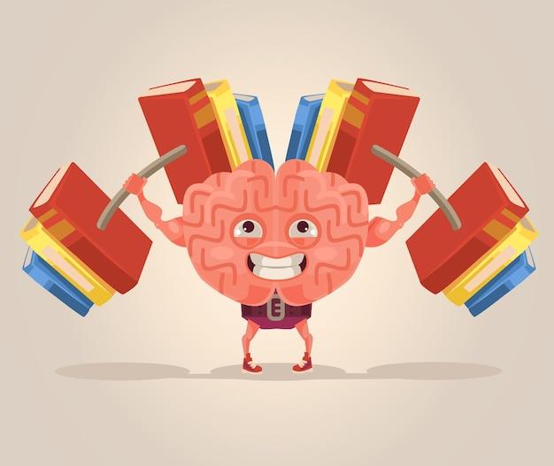 Strong smart brain character mascot flat cartoon illustration