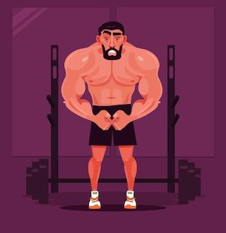 Сильный спортивный человек культурист персонаж позирует карикатура иллюстрации