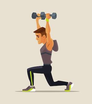 Сильный спортивный мужской персонаж, делающий упражнения на поднятие тяжестей, плоская карикатура