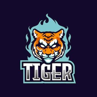 Strong tiger e-sport team logo mascot design