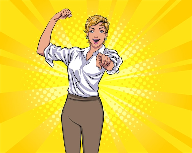 Strong woman point finger at you gesture pop art comic style