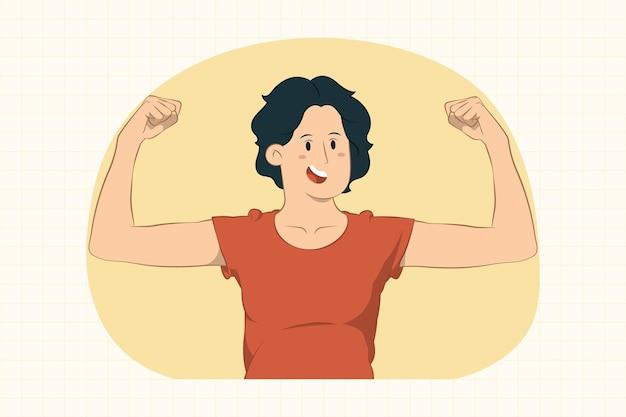 Сильная молодая женщина, показывающая бицепс