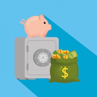 貯金箱とお金の袋を備えた金庫