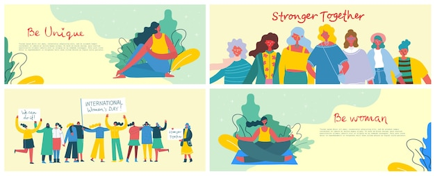 Stronger together. feminine concept and woman empowerment design. banner set