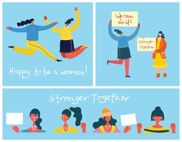 Stronger together. feminine concept and woman empowerment design for banners and posters in flat design